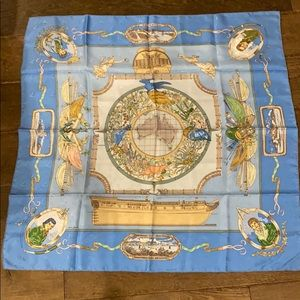 Authentic Hermes silk scarf. Le Geographe